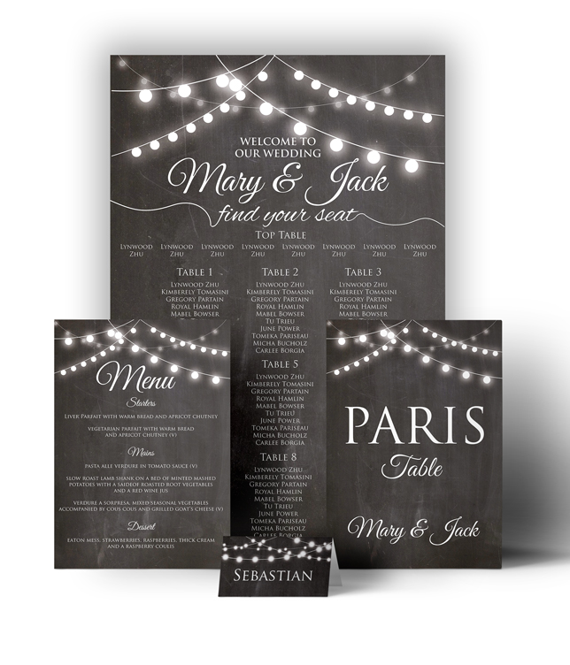 Chalkboard Festoon Wedding Stationary