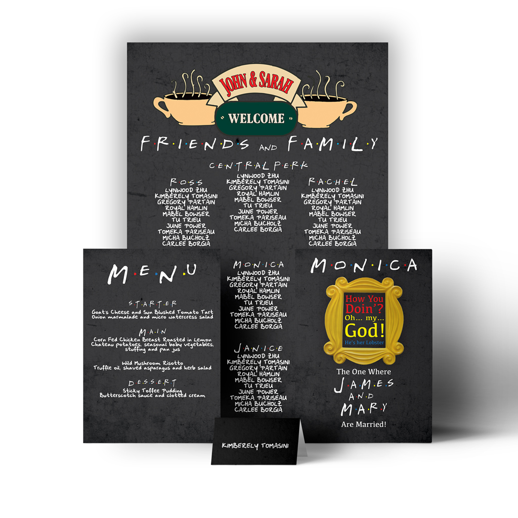 Friends Central Perk Wedding Seating Plan And Stationary