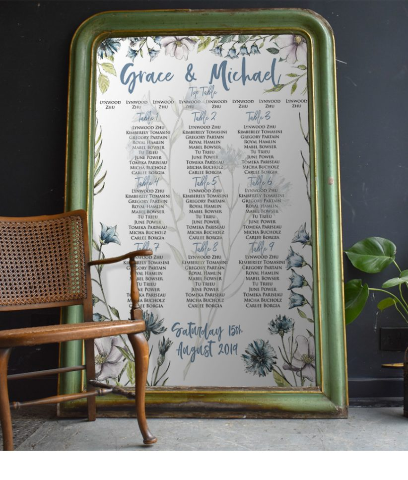 Blue Wildflower Wedding Seating Chart