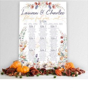 Elegant Autumn, Fall Wedding Seating Chart